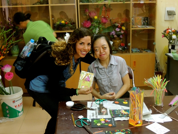 The One Chance Project spends time with Nguyen Thi Van Long, a talented student and resident of The Vietnam Friendship Village, who was making the most beautiful handmade cards. We just had to buy one!