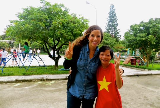 Making a new friend at The Vietnam Friendship Village!